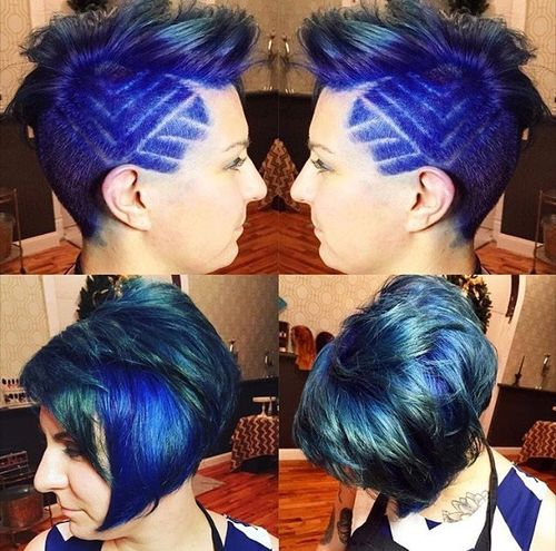 Bright Blue Bob with Geometric Patterns on the Temple