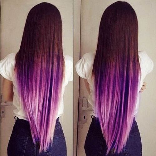 Dark hair with purple ombre for long hair