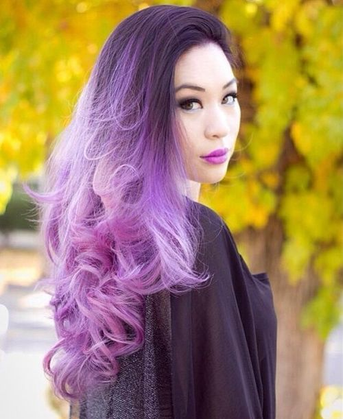 Amazing dark hair with purple ombre for long hair
