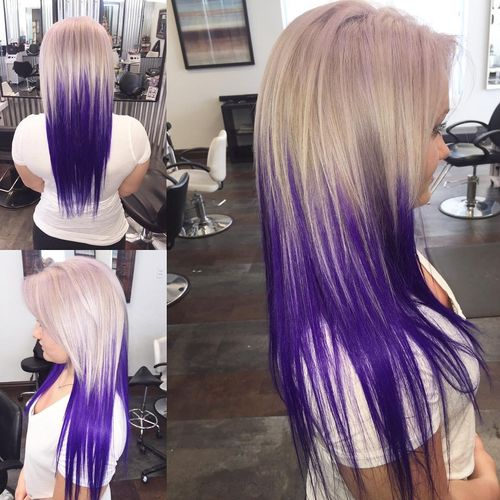 Superior light hair with purple ombre for long hair