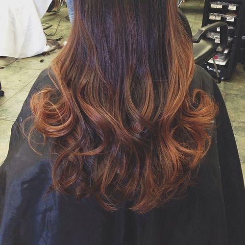 Long hair with dark brown ombre