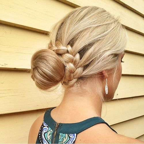 Blonde bun with braids