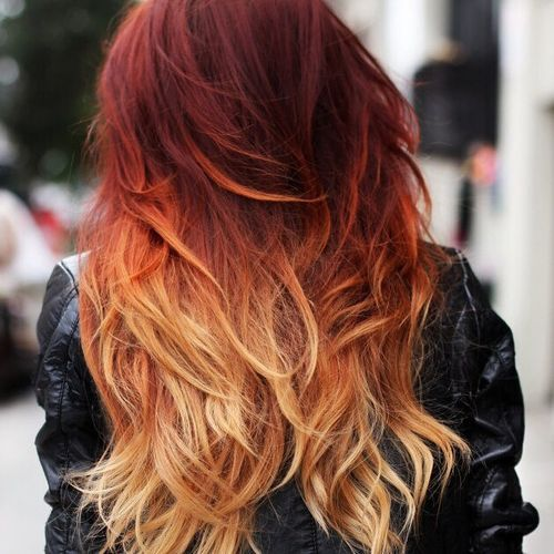 Glorious red hair with ombre for long hair