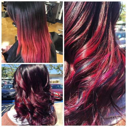 Admirable dark hair with rainbow ombre for long hair