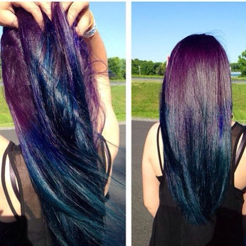 Dark purple to blue hair with blue ombre for long hair