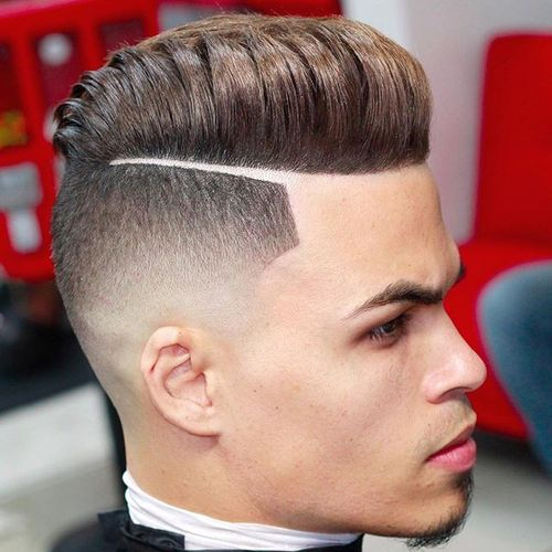 Fine Pompadour with Sharp Line