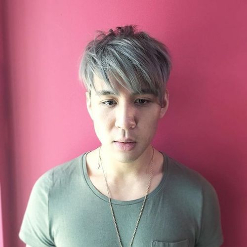 Silver Messy Cut for Asian Men