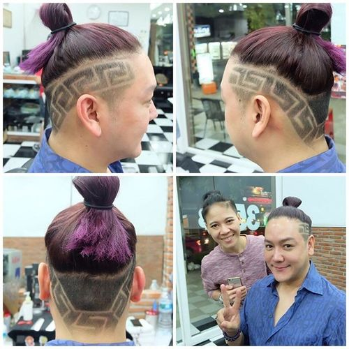 Purple-Pink Bun with Design for Asian Men