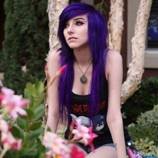 Purple two-leveled emo hairstyle