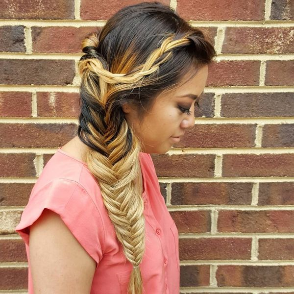 Brown to blond ombre side fishtail braid