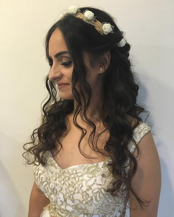 Romantic Curls with Flower Crown