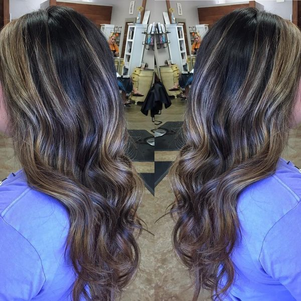 The Chocolate Balayage on the Long Dark Hair