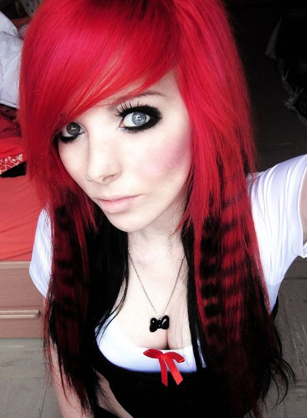 Deep pink long hair with black layers