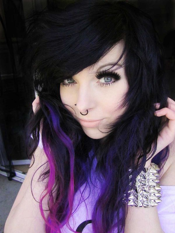Long black and purple hair with a heavy fringe