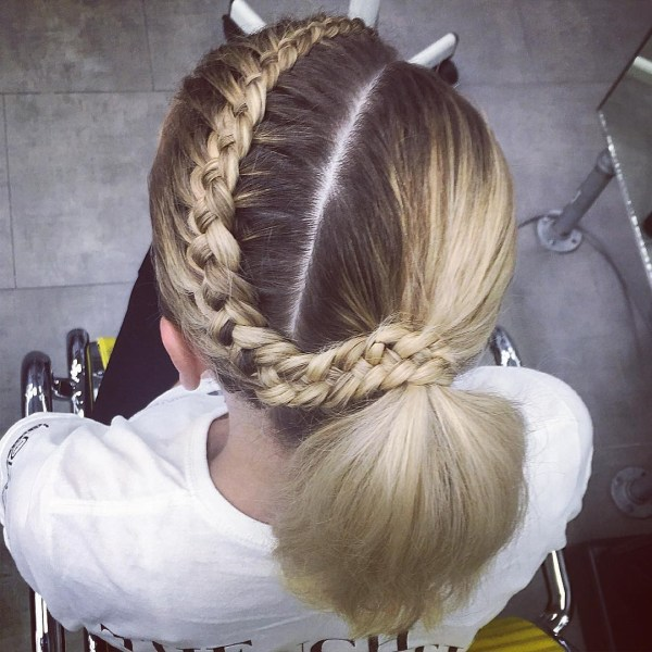 Asymmetrical ponytail and a crown braid