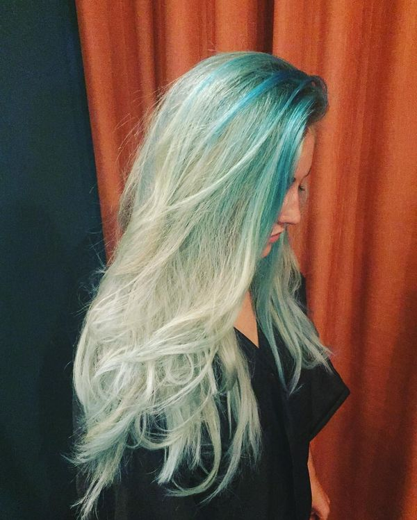 Blonde with turquoise roots