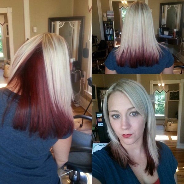 Burgundy under the platinum cut