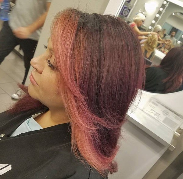 Calm burgundy balayage with pink