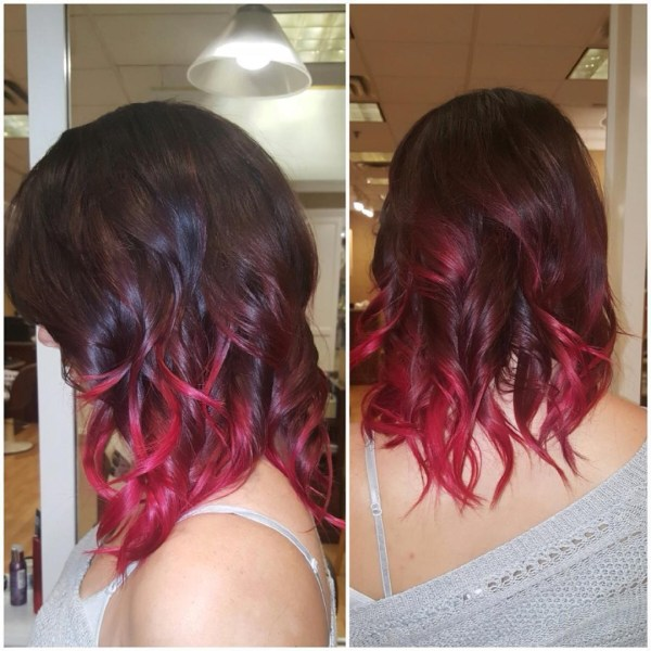 Dark berry shoulder-length ombre