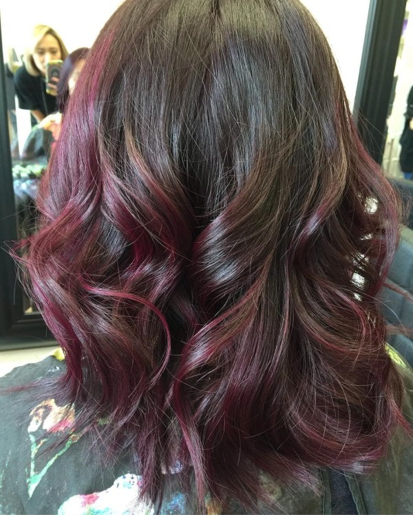 Dark burgundy with ruby curls