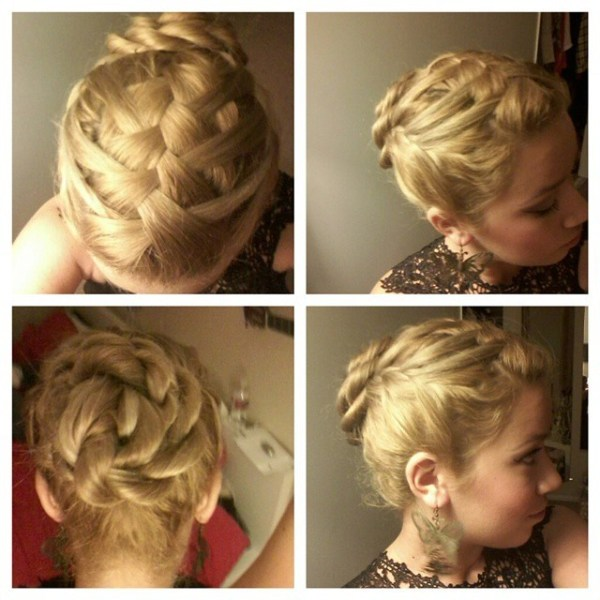 Intricate weaving updo and a knot