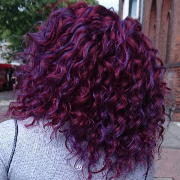 Purple curly hair design