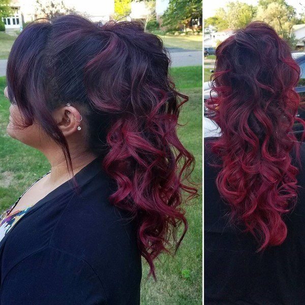 Ruby ponytail and oblique fringe