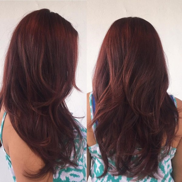 Warm burgundy for layered hair