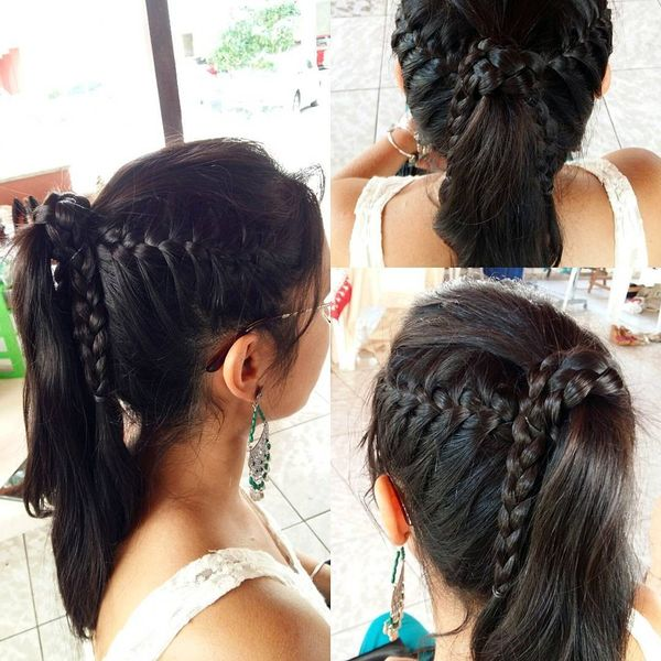 Twisted ponytail with sides' braids