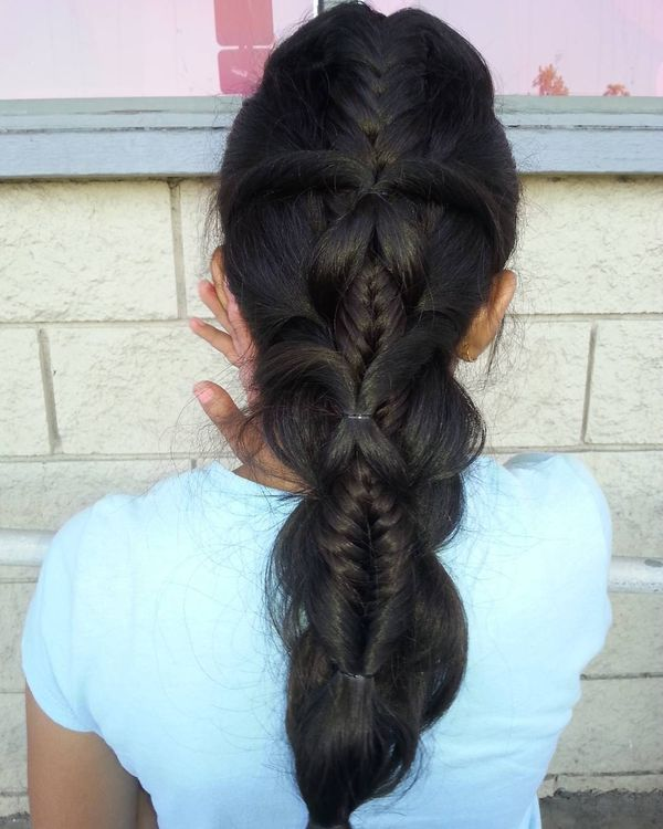 Parted fishtail braid