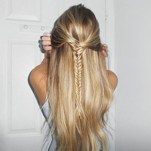 Loose half-up fishtail braid