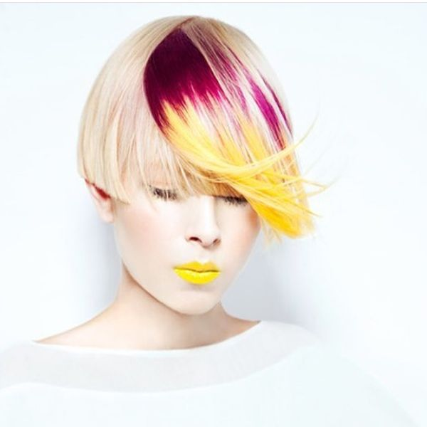 Blonde Asymmetric Bob with an Outstanding Pink