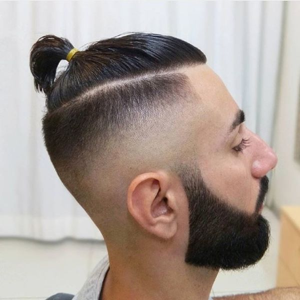Cool man bun fade haircut 2