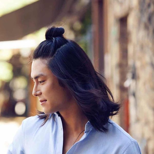 Half man bun hairstyle 3