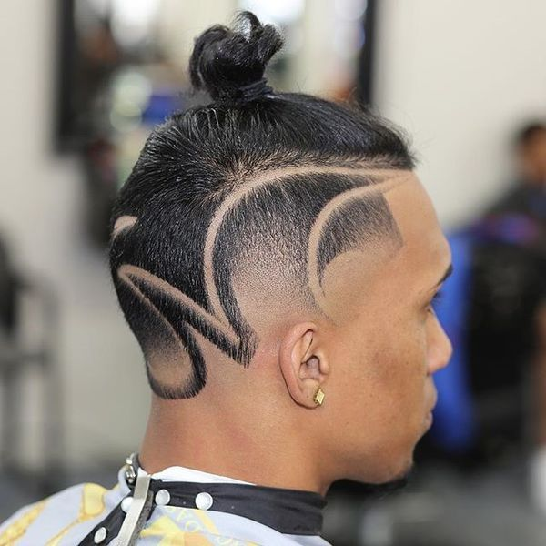 Small man bun with shaved sides 2