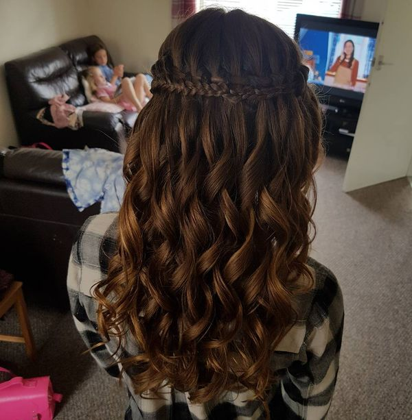 Splendid Prom Waterfall with a Tight Braid