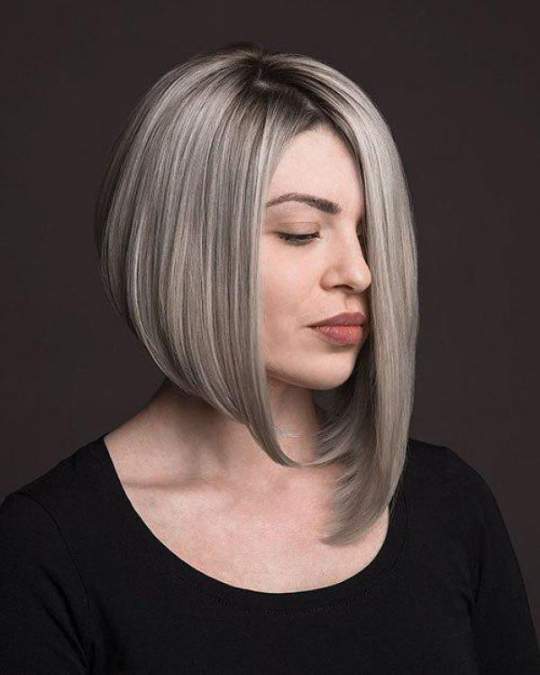 Asymmetrical long bob: one side longer bob styles 3