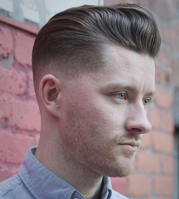 Stylish Mid Skin Fade with Pompadour 3
