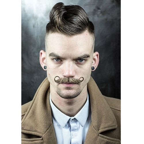Hot Male Hipster Hairstyles with Handlebar Mustache 3