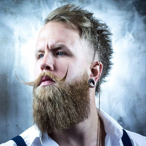 Hot Male Hipster Hairstyles with Handlebar Mustache 4