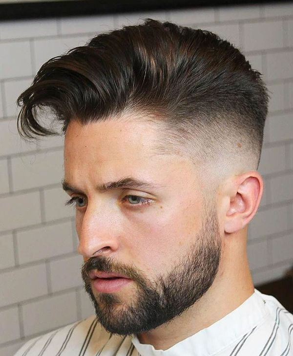 Classic taper fade with long hair on top 4