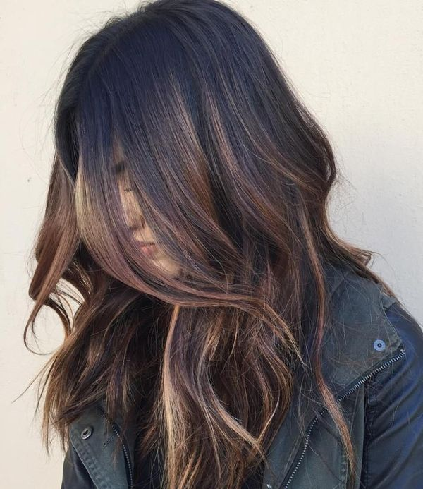 Cute Light Brown Balayage for Dark Hair 1