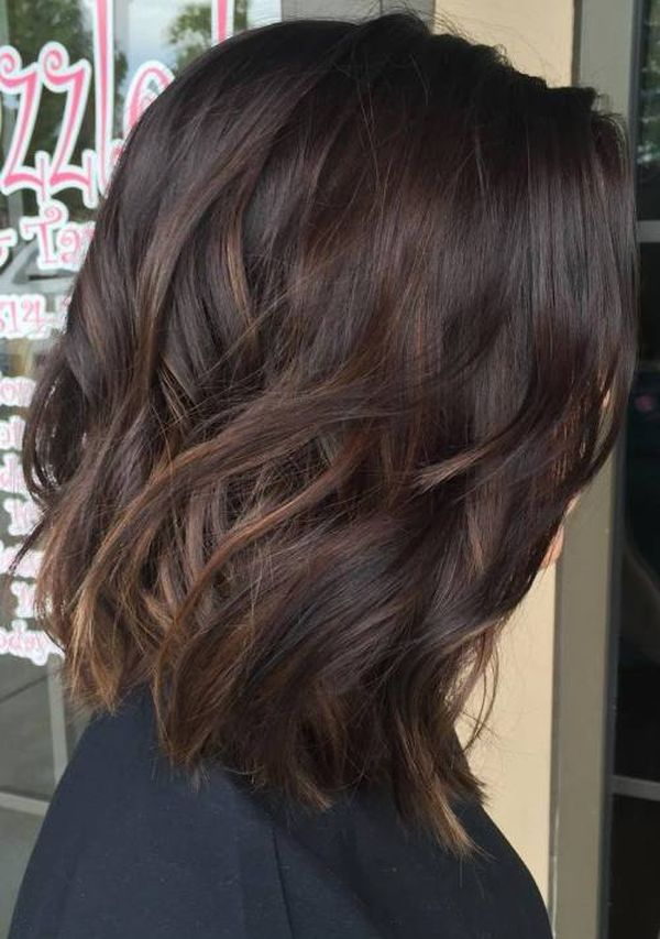 Cute Light Brown Balayage for Dark Hair 2