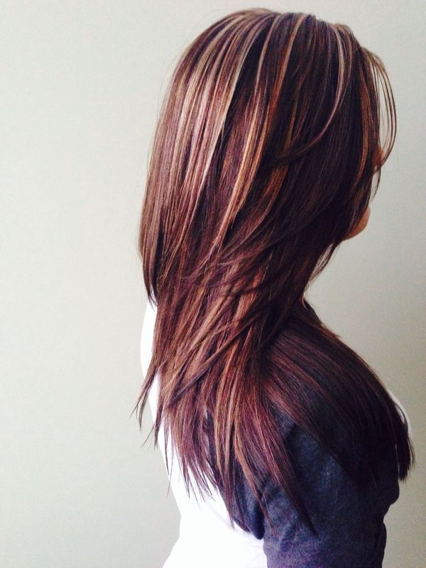 Long Burgundy Hair with Blonde Highlights 1