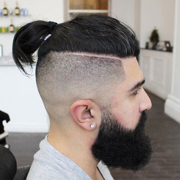 Trendy Top Knot Fade Haircut for Men 1