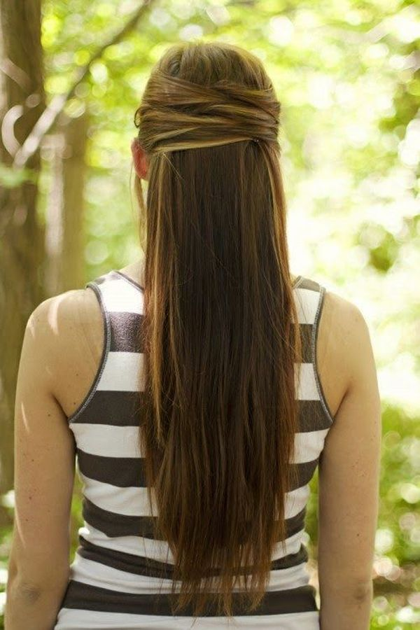 Half up half down hairstyles for long straight hair 6