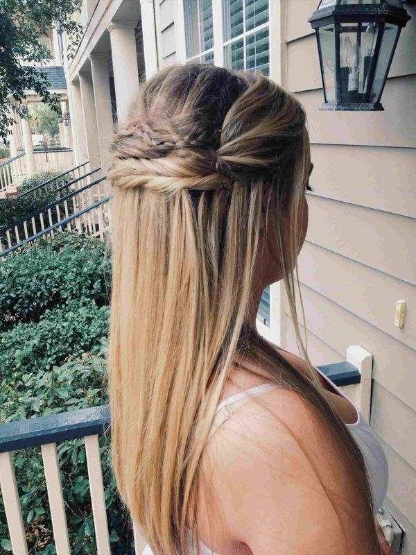 Half up half down hairstyles for long straight hair 7