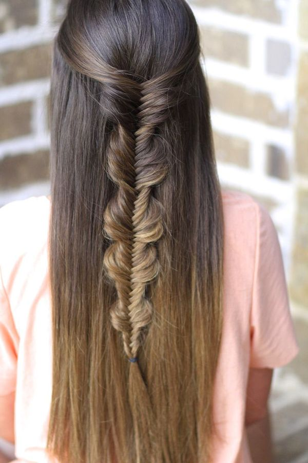 Half up half down hairstyles for long straight hair 8