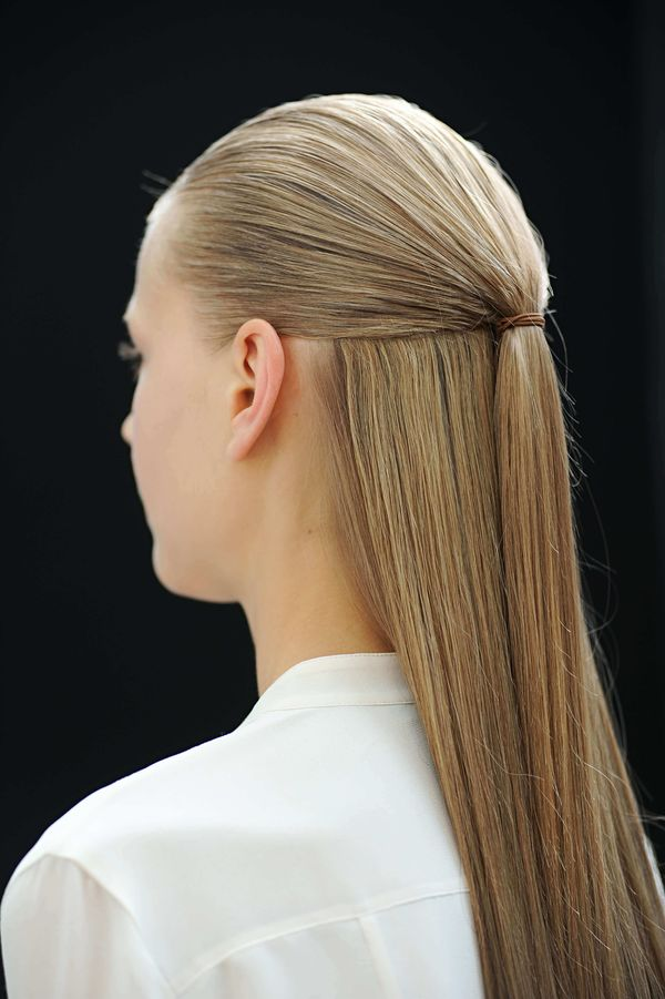 Half up half down hairstyles for long straight hair 9