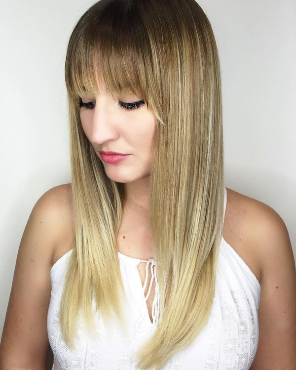 Ideas for long straight hair with bangs 1